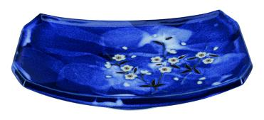 Blue Sakura Oblong Plate 21.7x14.6cm - InSight. Home and garden decoration