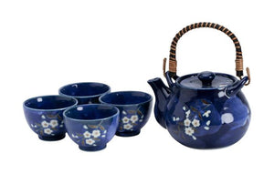 Blue Sakura Teaset 0,7L + 4 cups, giftbox - InSight. Home and garden decoration