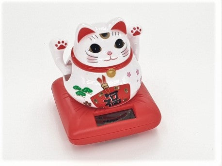Lucky cat both hands moving 8x8 cm