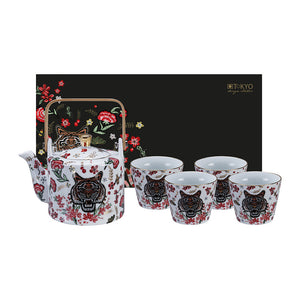 Magical tiger set teapot 0.8 ml and 4 cups 180 ml