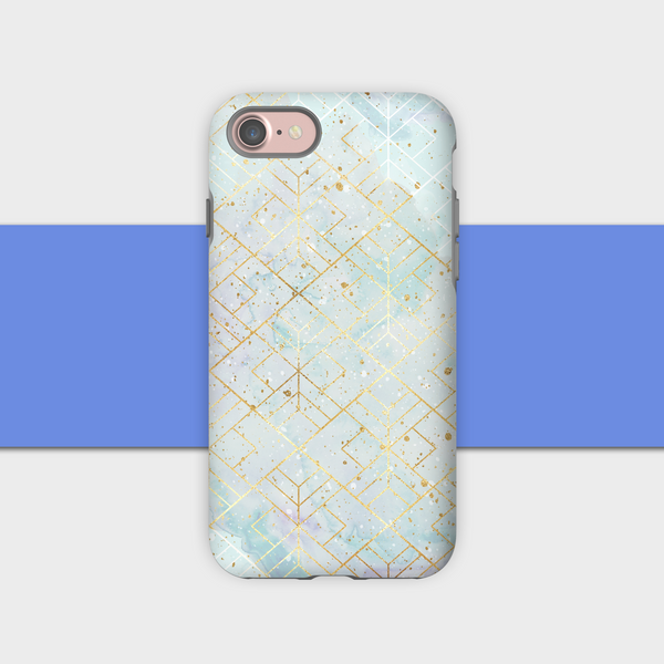 Geometric Gold Sky Blue
