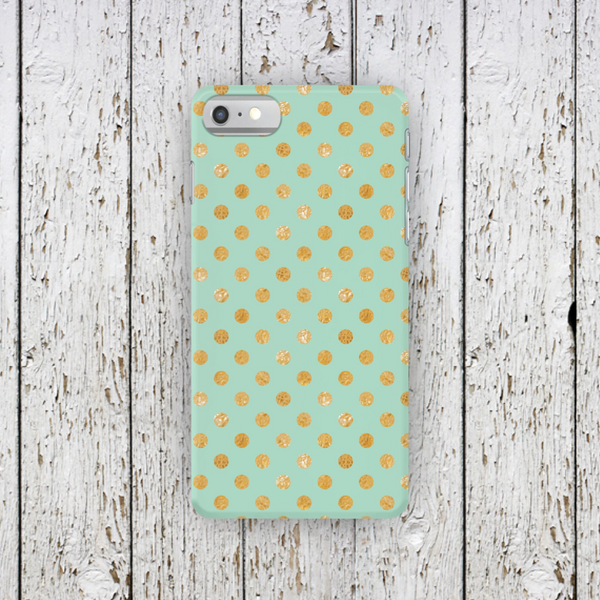 Mint Gold Polka Dot