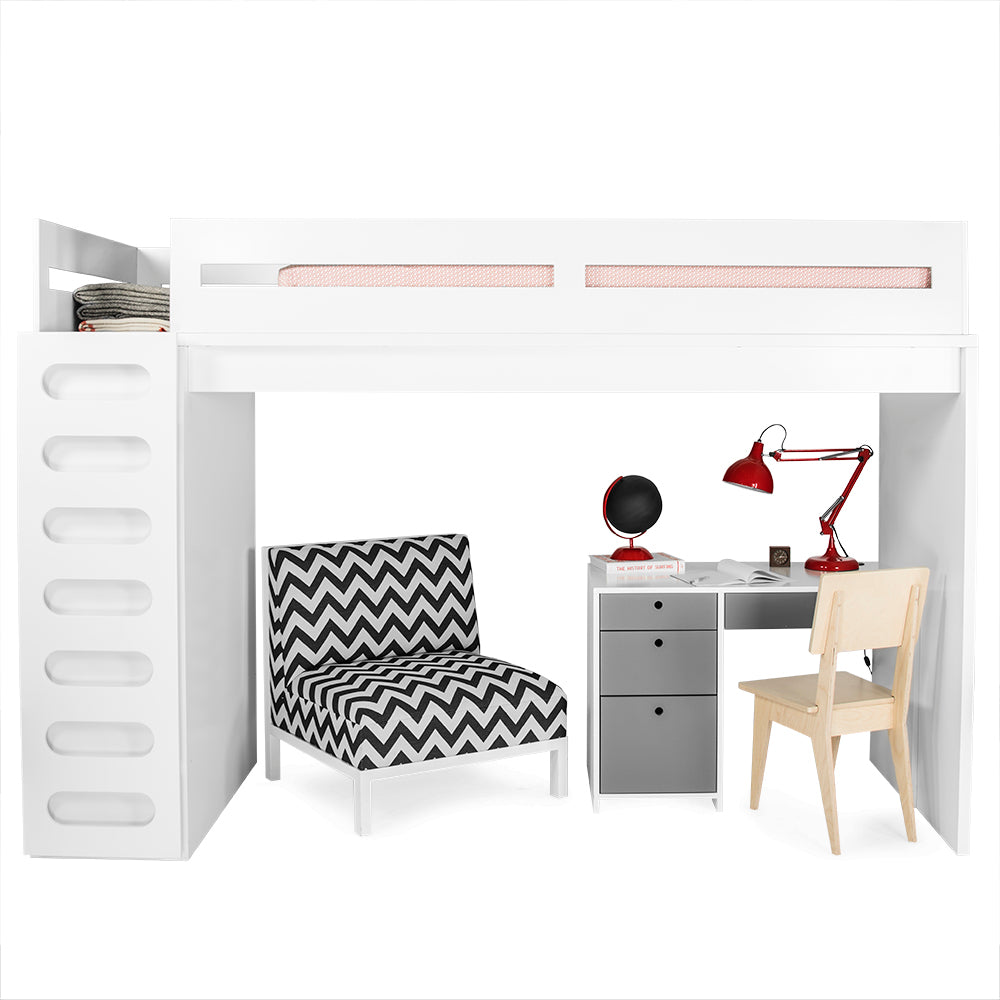 alex lefty loft twin bed with shelves