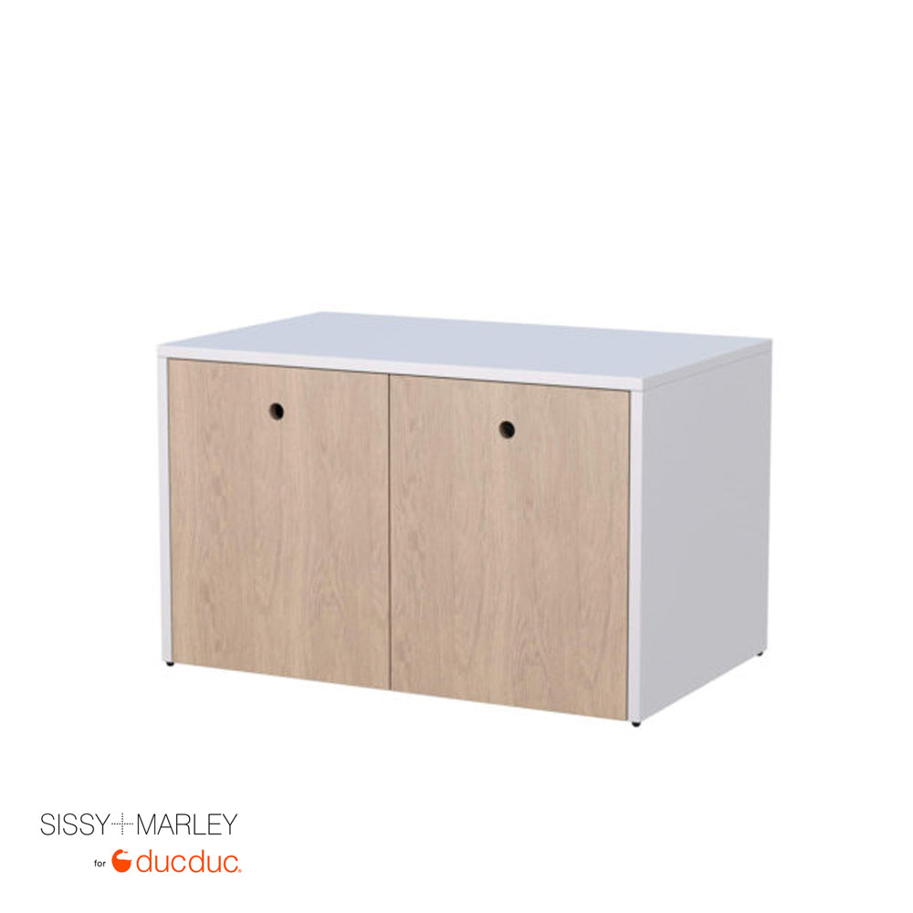 max media cabinet angle white frame oak accent