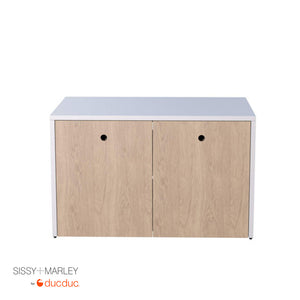 max media cabinet front white frame oak accent