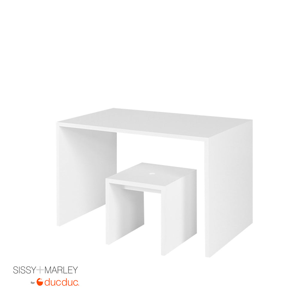myles desk small white with logan stool small white angled
