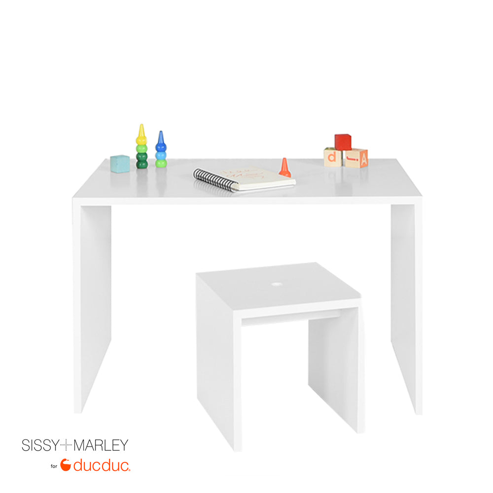 myles desk small white with logan stool small white styled