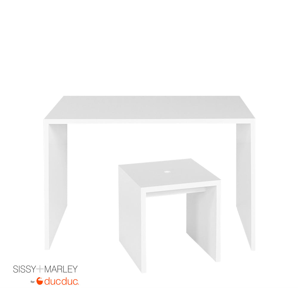 myles desk small white with logan stool small white front