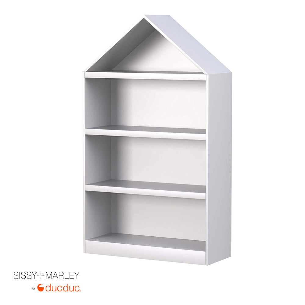 paige house bookcase angle white