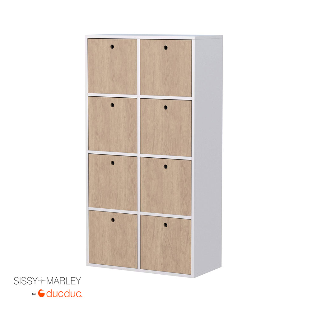 quinn vertical cubbies angle white frame with oak accent