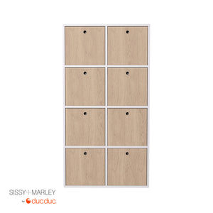 quinn vertical cubbies front white frame with oak accent