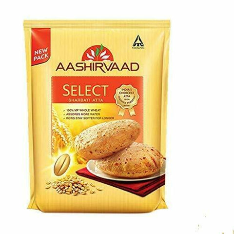 Aashirvaad Select Whole Wheat Sharbati Atta 11 Pound (5 KG), Flours & Rice, Aashirvaad Products, Aiva Products