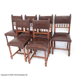 Set of Six French Antique Leather Chairs