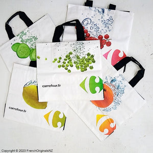French funky  reusable shopping bags