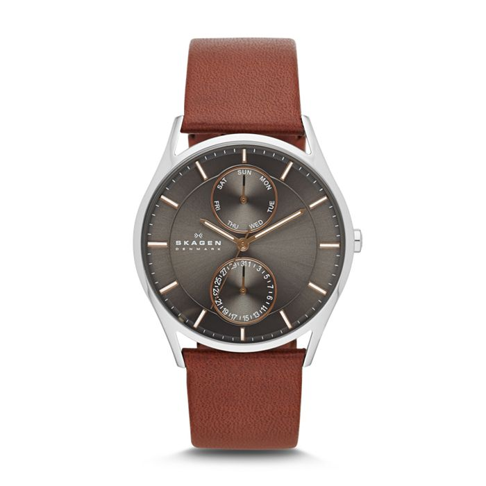 Skagen - Holst Brown Leather Multifunction Watch