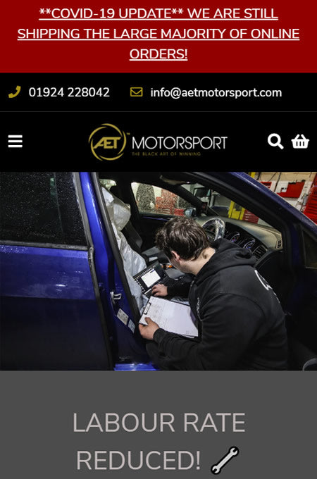 AET Motorsport, header banner with COVID-19 notification