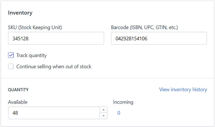 Adjusting product information management and stock levels in Shopify admin area