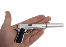 Load image into Gallery viewer, Goatguns Mini 1911 Suppressor - Silver - Die Cast Model Toy