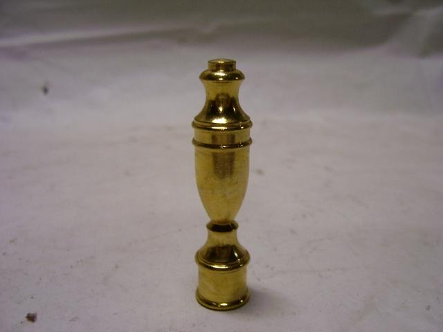"2-1/2"" Brass Finial - Female - Nickel Plated - Tapped 1/4""-27"