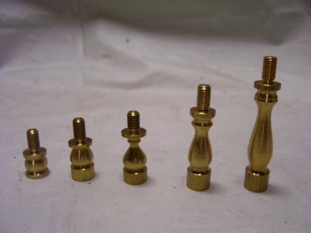 "1"" Turned Brass Shade Risers - 1/4""-27 M Top x 1/4"" -27 F Bottom"