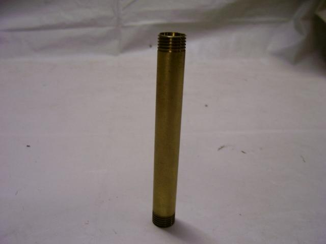 "Unfinished Brass Pipe 6"" - Threaded Both Ends 1/4"" IPS - 1/2"" LO"