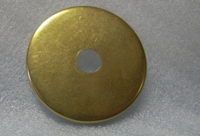 "2-1/2"" Brass Plated Steel Round Flat Plate - Center Hole Can Sli"
