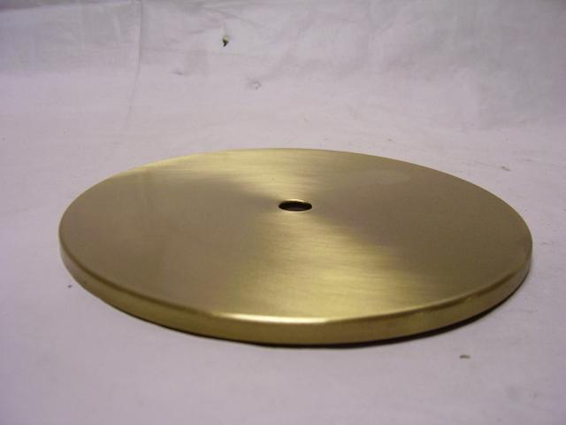 "6-1/2"" Round Flat Brass Plates - Brushed Brass - Check Plate wit"
