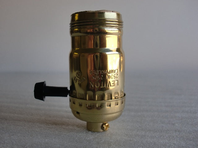 "Leviton ""Uno"" Threaded 3-Way Brass Turn Knob Socket with a Removable Knob"