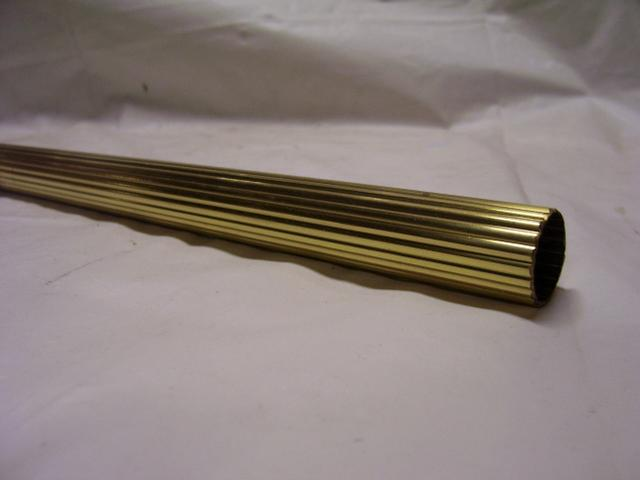"3 Foot Solid Brass Reeded Pipe - Unfinished - 7/8"" O.D."