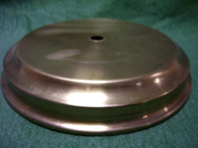 "4-1/2""spun brass base1-1/4""ht w/wirehole-satin brass&lacquered"