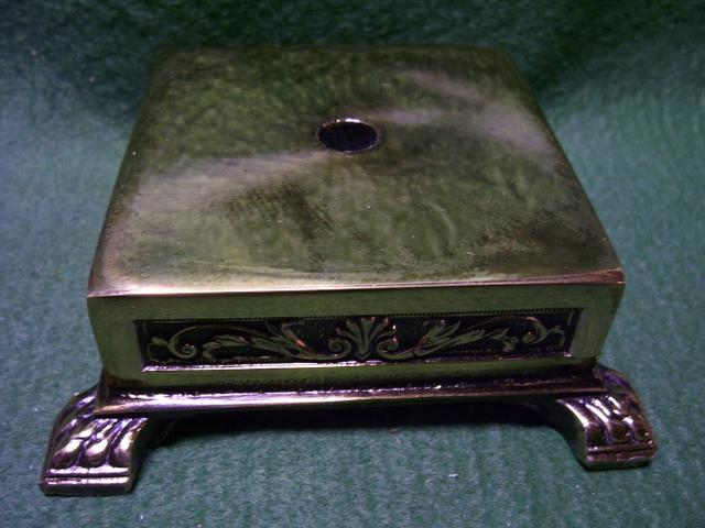 "Square Metal Base 3-3/4""top 1-1/2""ht 4-7/8""bottom"