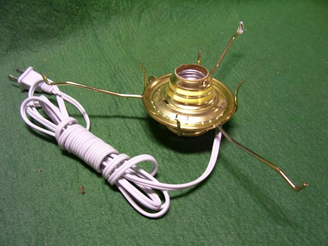 "Wired Oil Lamp Adapter with Size #2 and a Tripod size 10"" for a 3"" Chimney"