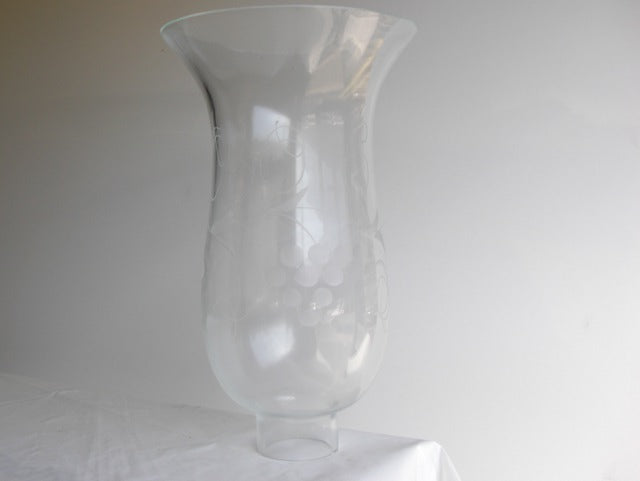"6-1/2"" Etched Crystal Grape Patterned Hurricane Shade"