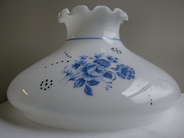 Blue Floral Tam-O-Shanter Shade with a Crimp Top