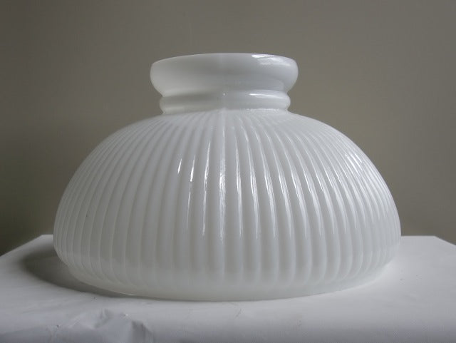 "White Ribbed Student Shade with a 10"" Fitter"