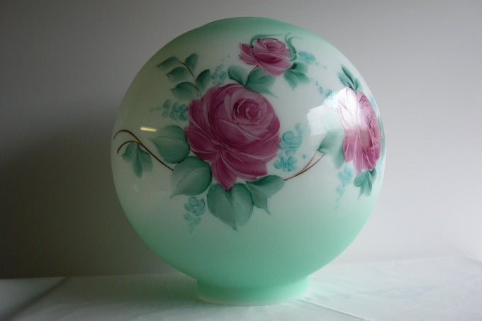 "8"" Decorative Opal Ball Shade with Tinted Green on the Top and Bottom"