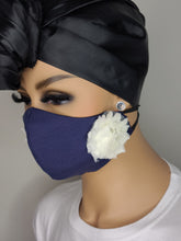 Load image into Gallery viewer, Navy 'n Lace Face Mask