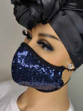 Load image into Gallery viewer, Navy Bling Face Mask
