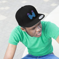 Flat Snapback Hat in Black