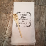 Engraved Wood Spoon and Cotton Dish Towel