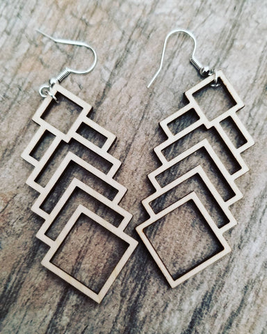 Wood Earrings - Abstract Geometric