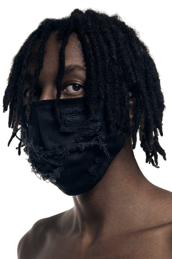 BLACK DISTRESSED DENIM MASK