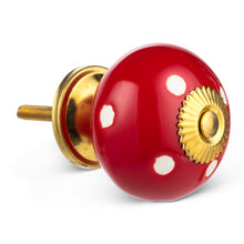 Load image into Gallery viewer, Knob Polka Dot Red
