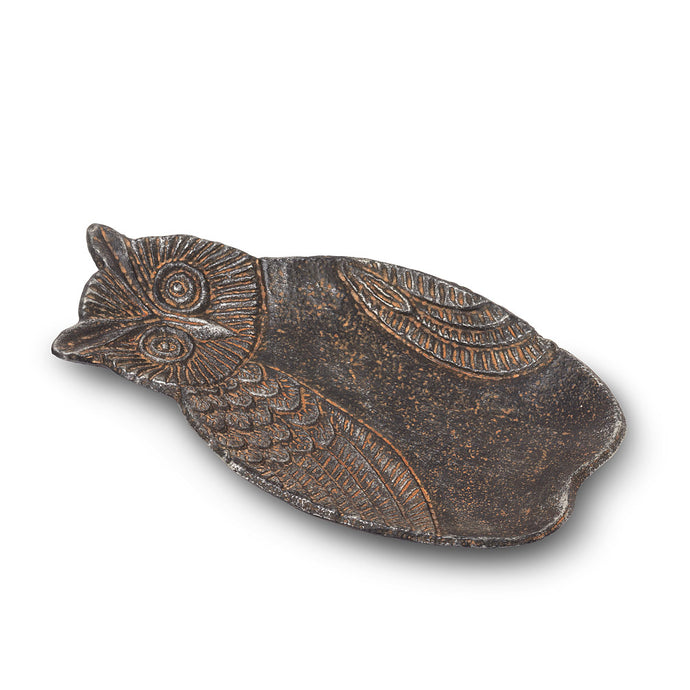 cast iron antique look owl pin dish