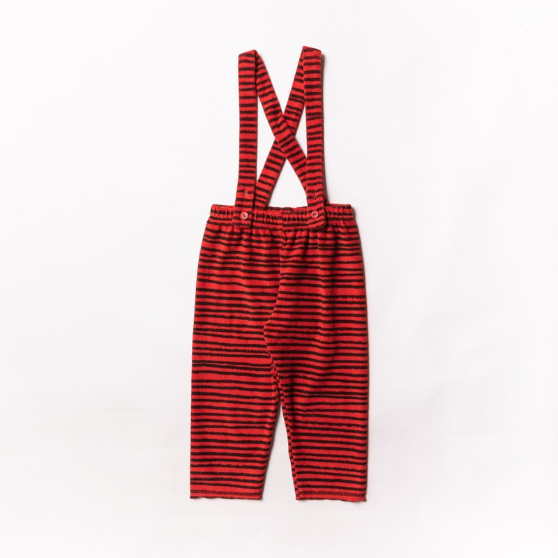 Terry Suspender Pants Red Stripes