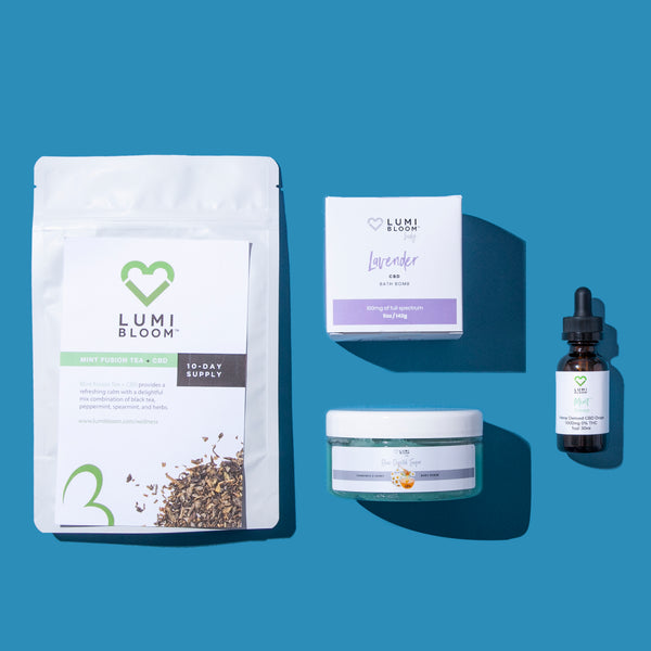 #CBD Tea, Scrub, Bath Bomb, and Tinctures in The Decompress Pack ~ Is The Best Holiday Gift, Like–Ever