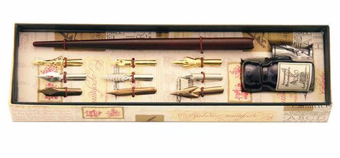 Wood Pen, 9 Nibs & Ink Pewter Set