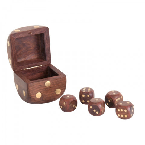 Dice Box With 5 Dices, Brass