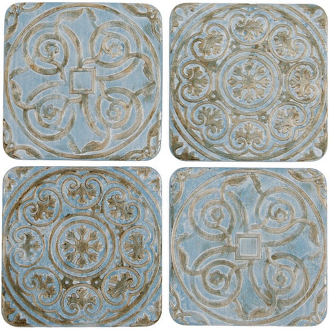 Embossed Blue Coasters