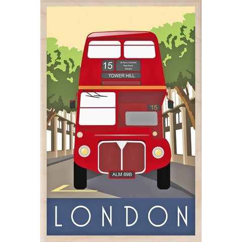 London Bus Wooden Postcard
